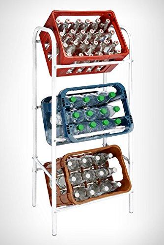 Spetebo Getränkekistenregal für 3 Getränkekästen - weiß - Kastenregal, Kastenständer