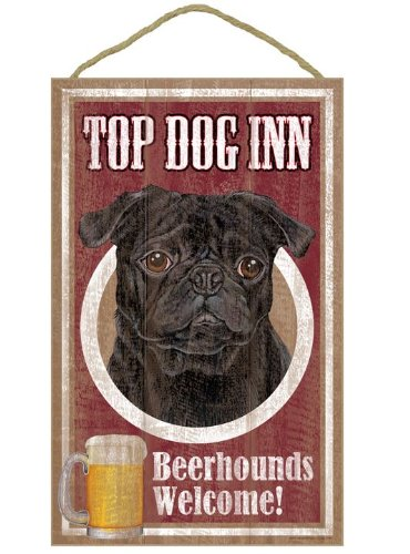 (Sjt27957) Carlin (Noir, couleur), Top Dog Inn 25,4 x 40,6 cm plaque en bois, DE signer