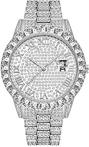 Reloj de diamantes de imitación brillante para hombre, correa de reloj analógica de cuarzo con diamantes redondos de lujo para hombre, correa de acero inoxidable, joyería, pulsera con dijes de rapero