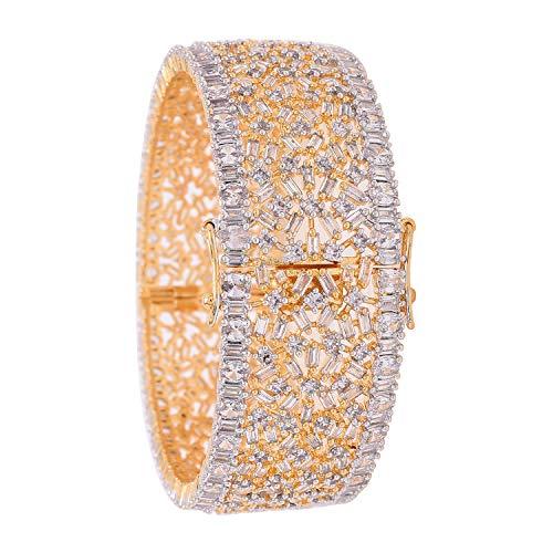Ratnavali Jewels CZ Zirkonia Gold Tone Diamond Baquette Öffnungsfähige indische Bollywood Hochzeit Single Armreifen Kada Schmuck Braut