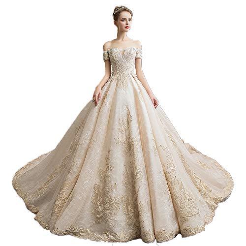 BWCX bruidsjurk bruiloftsjurk dames bruidsmode feestjurk tule, lange kanten avondjurk wit