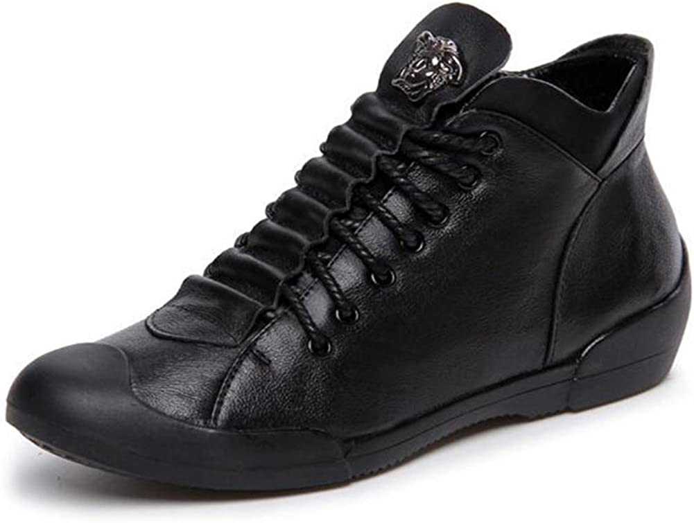 PP FASHION Women's 100% quality warranty It is very popular High Top Genuine Flat Leather Wedges Lace-up