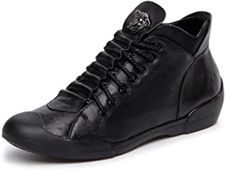 PP FASHION Women's High Top Genuine Leather Wedges Lace-up Flat Sneakers