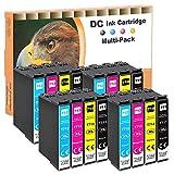 D&C 16x Cartuchos de tinta compatibles con Epson T0711 T0712 T0713 T0714 para Epson Office B40W BX-300F BX-310FN BX-510 W BX-600FW BX-610FW Stylus D120 D78 D92 DX-4000 DX-4050 DX-4400 DX-5000 DX-5050