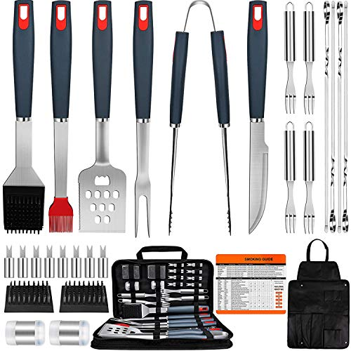 EUHOME BBQ Grill Accessories Heavy Duty Grill Utensils 31 PCS Set Extra Thick Stainless Steel BBQ Grilling Tools with Nylon Carry Bag Great Gift Christmas for Men in Camping Backyard Barbecue Party