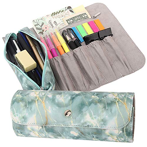 MoKo Pen Pencil Case, Roll Up Pencil and Makeup Pouch Bag Organizer with 1 Removable Pencil Pouch, 5 Slots, 1 Zipper Pocket & Magnetic Buckle for Office, School, Home - Marble Green