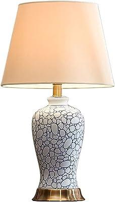 Lampes de Table Lampe De Table en Céramique De Porcelaine Bleue Et Blanche De Style Chinois Chambre Lampe De Chevet Salon Lampe De Table Peinte À La Main (Color : Blanc, Size : 23 * 60cm)