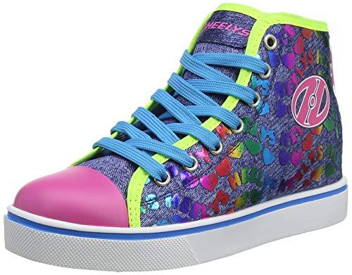 Heelys Veloz, Zapatillas Altas, Multicolor (Denim/Glitter/Rainbow Denim/Glitter/Rainbow), 35 EU