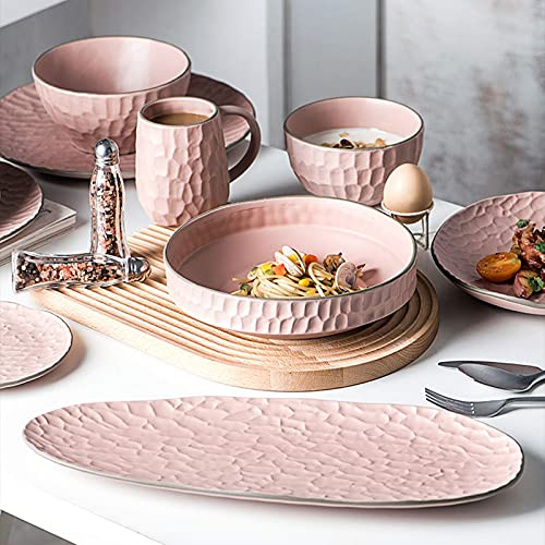 ZJZ Juego de vajilla de cermica, 39 Piezas, Juego de Cena Rosa para la Familia, Plato de Cereal de Porcelana, Plato de Carne y Juego de Taza