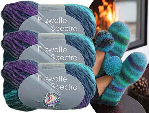 Gründl 3x100 Gramm Filzwolle Spectra aus 100% Schurwolle, (Sparset 03 Blau Mix) inkl. Strickanleitung für Filzhausschuhe + 3 Strasssteine zum aufnähen