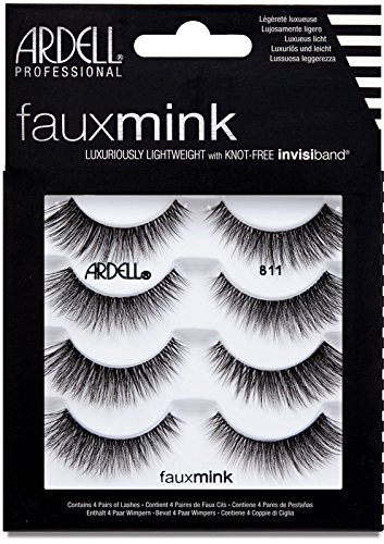 ARDELL Faux Mink 811 4 Pack Künstliche Wimpern, 25 g - vegane Wimpern aus Synthetikhaar schwarz, black, ultraleicht, flexibel und wiederverwendbar