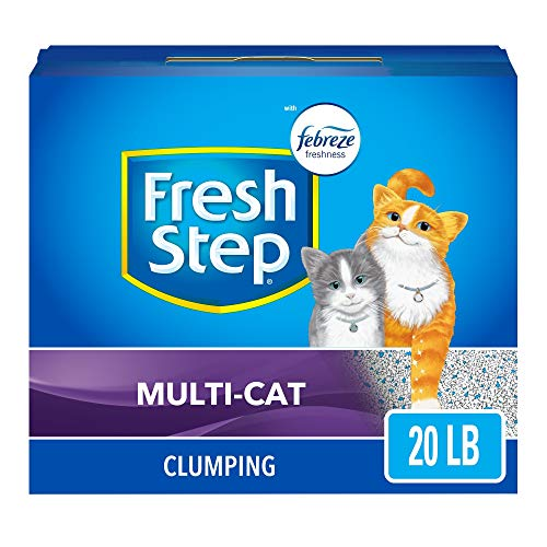 Fresh Step Multi-Cat Scented Litter with the Power of Febreze, Clumping Cat Litter, 20 Pounds, Gray