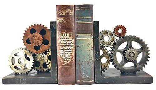 Bellaa 20881 Gear Bookends Industrial Vintage Style 6 inch