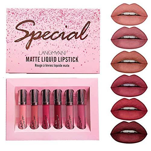 6 Farben Matt Lippenstift Set Samtig Flüssig Lippenstift Kit Wasserdicht Langlebig Langlebig Nackt Lipgloss Set Rot Sexy Antihaft Cup Lips Makeup Set