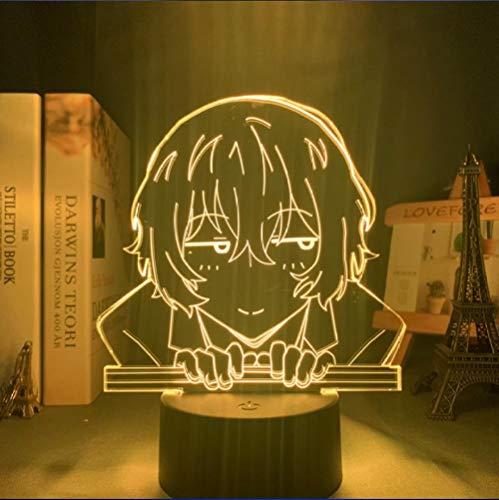 3D Nachtlicht für Kinder, 3D Illusionslampe LED Nachtlicht Lampe mit Fernbedienung 16 Farben ändern, Urlaub Weihnachten Geburtstagsgeschenke für Kinder Kind Teen Streunender Hund Osamu Dazai Lampe