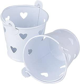 Cubo de 20 cubos de metal de color blanco para invitados, barra de dulces para bodas con dulces, mesas de decoración de dulces, cajas de altura, 5,2 cm de diámetro, 5,8 cm y 4,2 cm, mesas de manualidades y artes decorativas (blanco / corazón)