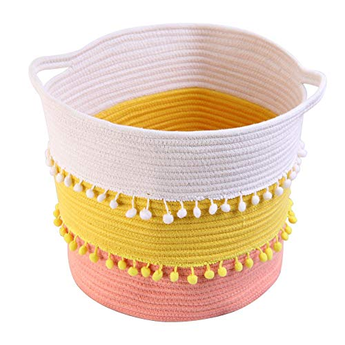 Cxssxling - Cesto para ropa sucia, cuerda de algodón trenzado, color natural con colgante bola de pelo para guardar la ropa o decoración (30 x 30 cm)