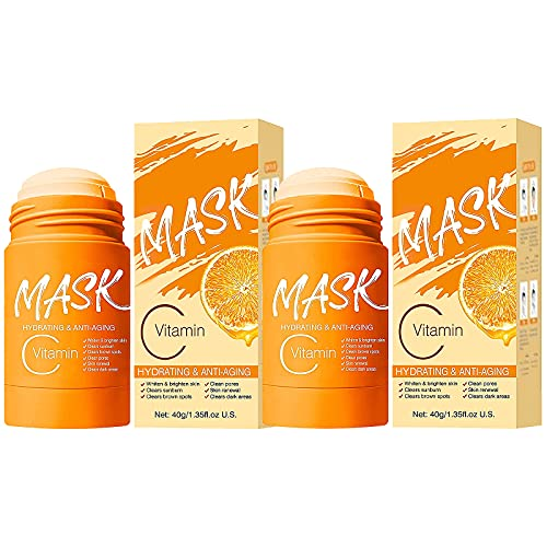 2 Pcs Smear Type Charcoal/Vitamin C Purifying Clay Facial Mask Stick Deep Cleansing Oil Control Anti-acne Remover Blackheads and Shrink Pores Solid Mask for All Skin Types (Vitamina C)
