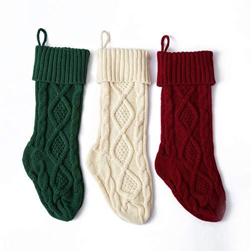 Takefuns - Confezione da 3 calze di Natale grandi lavorate a maglia, da appendere alla parete,...