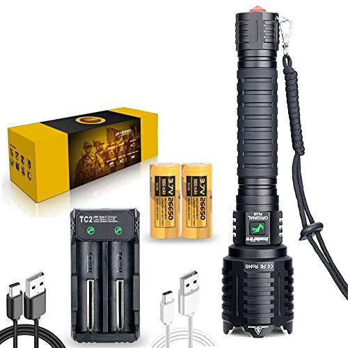 XHP160 LED Linterna Táctica De Mano Recargable, Lúmenes Super Brillante 8800, IPX5 Impermeable, 5 Modos De Iluminación, Zoom De Zoom, 26650 Incluido, Adecuado Para Acampar Y Senderismo DXY
