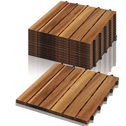 VINGO Holzfliesen, 3m² Bodenbelag aus Akazienholz 30x30cm, Bodenfliesen mit Drainage, perfekt Fliese für Garten Terrasse Balkon(33 Stück)