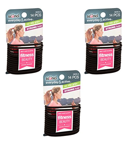 Scunci Black Gel Elastics, No Slip Grip, Strong Hold-Ponytailers (3-Pack of 14ct)