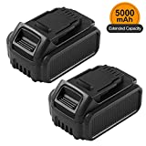 2 Pack 5.0Ah 20 Volt Lithium Battery Replacement for Dewalt 20V Battery XRP DCB207 DCB201 DCB205 DCB200 DCB203 DCB204 DCB206 Batteries