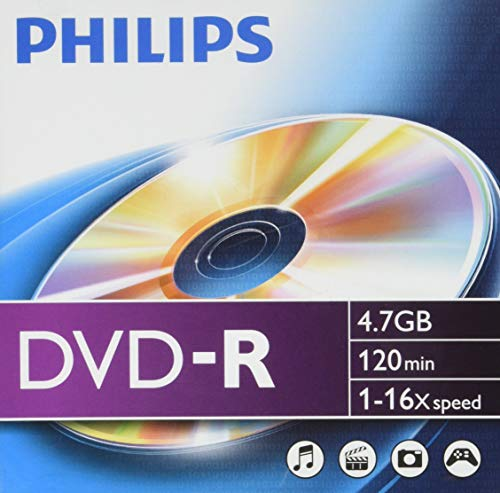 Philips DVD-R Rohlinge (4.7 GB Data/120 min. Video, 16x High-Speed-Aufnahme, 10er Slim Jewel Case)