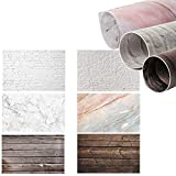 Selens 22x35 Inch (56x88cm) 2 in 1 Photography Backgrounds Wood Backdrop Brick Wall Background Marble Background Paper for Food Jewelry Cosmetics Makeup Small Product Prop Photo Photography(3 Pack)