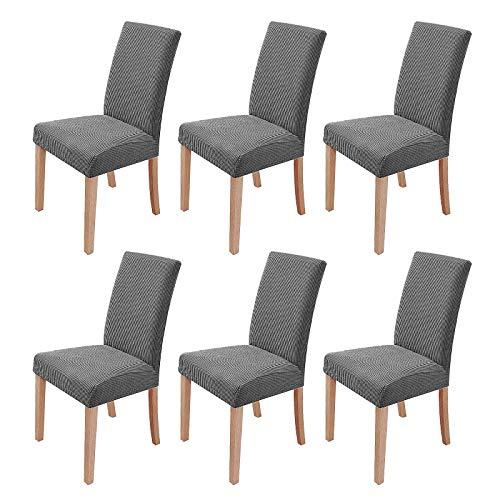 sorliva Stuhlhussen Stretch 6er Set Abnehmbarer waschbarer Stuhlbezug für das Esszimmer Moderne elastische Stuhlschutzdekoration für Büro Bankette Hochzeitsfest(Grau)