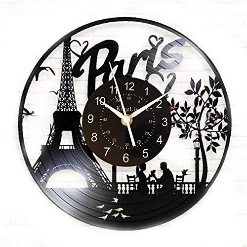 Parijs stad leidde Vinyl wandklokDame Vinyl Record handgemaakte kunst Decor voor kamer keukenVintage origineel cadeau voor elke gelegenheid
