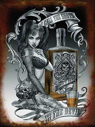 alchimie. I call le verres, vous pay Le diable. Sexy Tatoué femme, sucette. tatouage. devil's rosée. whisky. Cochon pile, bra, culotte, Sous-Vêtements. armes à feu. Idéal pour garage, boutique, Tatouage parlor, barre ou pub. Métal/Panneau Mural Métalique - 20 x 30 cm