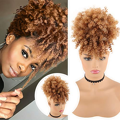CHOOH Afro High Puff Hair Bun Ponytail Drawstring With Bangs Synthetic Short Kinkys Curly Pineapple Pony Tail Clip in on Wrap Updo Hair Extensions for African American Women (T4/630)