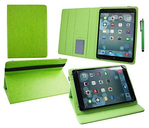 emartbuy Alcatel OneTouch Pixi 3 10 Zoll Tablet Universal (9-10 Zoll) Grün PremiumPULederMulti-AngleExekutiveFolioGeldbörseTascheHülle Grün InnenraummitKartensteckplätze + Grün Stylus