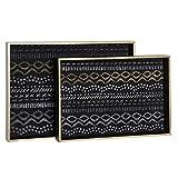 Hogar y Mas Bandejas Decorativas de Madera en Set de 2, Bandeja Original para Decoración étnica 38X28X4 cm