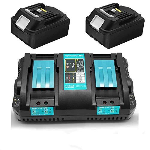 2 baterías de repuesto 18V 5.0Ah con Cargador 4A DC18RD doble para cortasetos Makita DUH551Z DUH651Z DUR181RF taladro percutor DHR171Z tijeras de césped DUM604ZX
