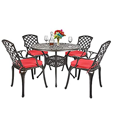 TITIMO 5-Piece Outdoor Furniture Dining Set, All-Weather Cast Aluminum Conversation Set Includes 1 Round Table and 4 Chairs with Red Cushions and Umbrella Hole for Patio Garden Deck, Lattice Design
