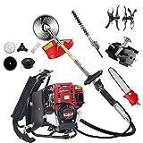 CHIKURA 10 in1 Backpack Brush Cutter with Gx35 4 Stroke Engine Grass Trimmer Brush strimmer Mini Tiller