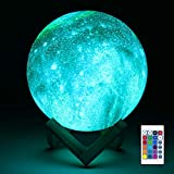 Aodue Galaxy Moon Lamp, Kids Night Light, 7 inch 16 Colors LED 3D Galaxy Lamp with Wood Stand, Remote and Touch Control, USB Rechargeable Gift for Baby Girls Boys Birthday