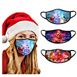USA In Stock 3PCS Adults Face Masks LED Christmas Pattern Lights Glowing Face Covering Face Protection For Outdoor Sports , Women Men Fashion Washable Reusable Earloop Light Up Face Fabric Xmas Gift