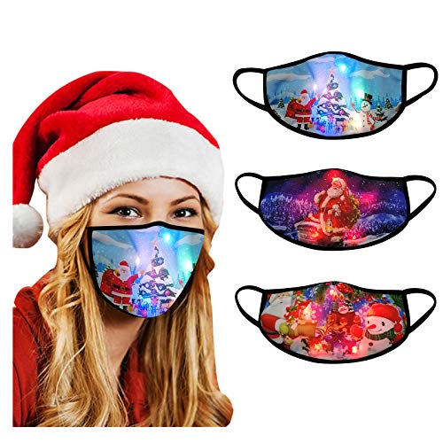 【USA In Stock 】3PCS Adults Face Masks LED Christmas Pattern Lights Glowing Face Covering Face Protection For Outdoor Sports , Women Men Fashion Washable Reusable Earloop Light Up Face Fabric Xmas Gift