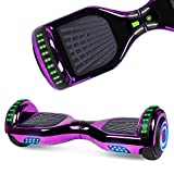 UNI-SUN Chrome Hoverboard for Kids Two-Wheel Self Balancing Bluetooth Hoverboard with LED Lights, Chrome Purple Hoverboard