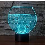MRQXDP Forma del acuario Lámina de acrílico Ilusión Luz de noche Color de flash Cambio de lámpara de mesa LED Tienda Dormitorio Decoración de regalo Luces