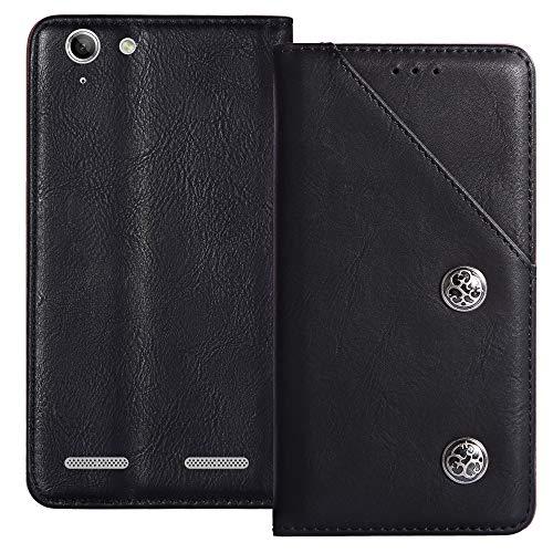 YLYT Negro De Cuero TPU Silicona Funda para Lenovo K5 Plus 5 Inch Vintage Estuche Plegable Caso Étui Cáscara Protección con Billetera Cover