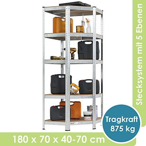 Juskys Eckregal Corner mit 5 Böden aus MDF Holz | 875 kg | Metall | 180 x 70 x 40-70 cm | Schwerlastregal Steckregal Lagerregal Kellerregal