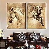 Animales Caballos Imagen 2 Piezas CuadrosEnLienzo Impermeable Print Modern Home Decoraciones Arte De La Pared Para La Habitación,Noframe,40 * 60Cm*2