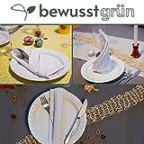 BewusstGrün - 24 𝗡𝗮𝗰𝗵𝗵𝗮𝗹𝘁𝗶𝗴𝗲 𝗦𝘁𝗼𝗳𝗳𝘀𝗲𝗿𝘃𝗶𝗲𝘁𝘁𝗲𝗻 grau I 45x45 cm I 100% Bio-Baumwolle - Aufwertung des Tisches für Anlässe und Alltag - 4