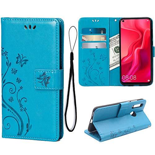 Teebo Brieftasche Hülle für Huawei Nova 4, 3 Kartenhalter Prägen Schmetterling Blume PU Leder Magnetisch Bookstyle Klapphülle für Huawei Nova 4(Blau)