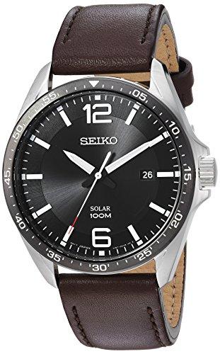 Seiko Men's Sport Watches Stainless Steel Japanese-Quartz Leather Calfskin Strap, Brown, 22 (Model: SNE487)