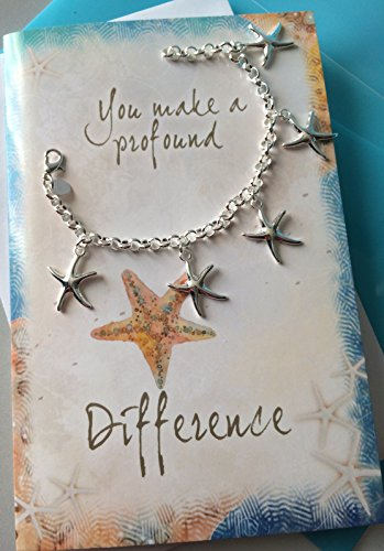 Smiling Wisdom - Starfish Charm Bracelet Gift Set - You Make a Profound Difference Thank You Card - Show Admiration, Gratitude, Appreciation to Teacher, Mentor, Sister, Mother, Friend - Silver
